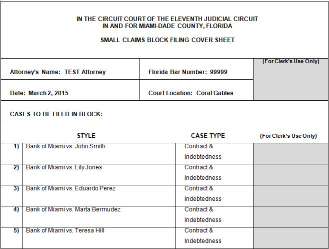 Small Claims Block Filing